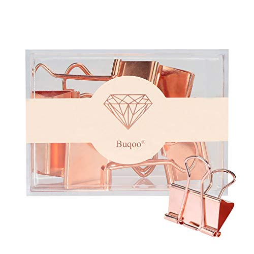 Jumbo Binder Clips Rose Gold 32mm Paper Binder Clamps Stainless Steel Binder Paper Clips for School, Office Supplies, Document Paper Files Organizing (Rose Gold)