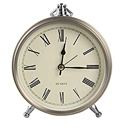 Wowkiki 6 Inch Metal Retro Loud Alarm Clock, Silent Non-Ticking Battery Control, Classic Roman dial Small Table Clock for Bedrooms. (Roman Numerals)