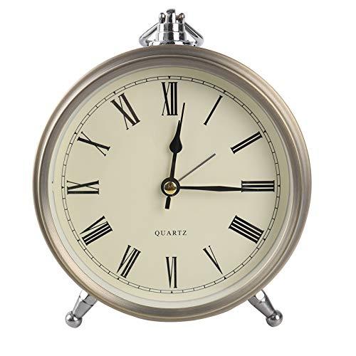 Wowkiki Reloj Despertador de Metal Retro de 6 Pulgadas, silencioso, Control de batería, Esfera Romana clásica, Reloj de Mesa pequeño para dormitorios.