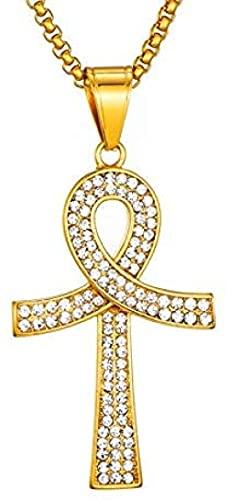 NC190 Hip Hop Bling Cruz Colgante Collar Color Oro 316l Acero Inoxidable Collares Colgantes para Hombres joyería 24 Pulgadas 60 cm Cadena