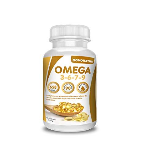 Omega 3 6 7 9, 90 Perlen, angereichert mit Flachsöl, Nachtkerzen, Oliven, Weizenkeimen und Macadamianüssen, wohltuend für Herz, Sehkraft und Gehirn. Novonatur