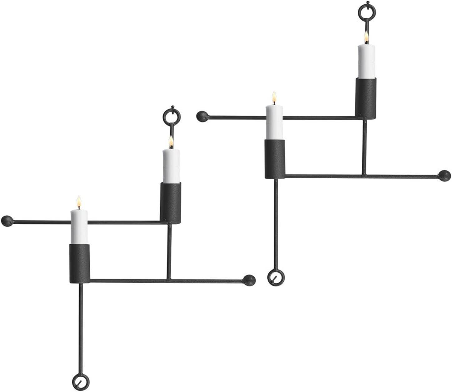Set of 2 Wall Super-cheap Pillar Candle Simple Sconce supreme Metal Lines Hol