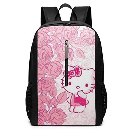Backpack 17 Inch, Kitty with Roses Large Laptop Bag Travel Hiking Daypack for Men Women School Work