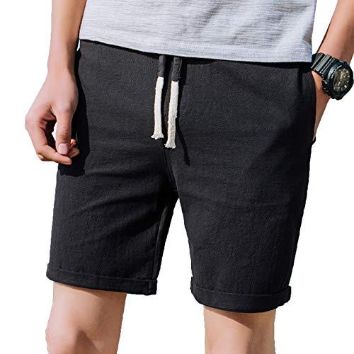 WSLCN Hommes Rétro Baggy Cargo Shorts Pantalon Court en Lin Coton Outdoor Casual Shorts Multi-Poches B FR 40 (Asie XL)