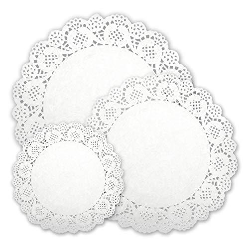 INHEMI Weiße Runde Papierdeckchen in 3 Größen,Papier Tortenspitzen,300 Stück