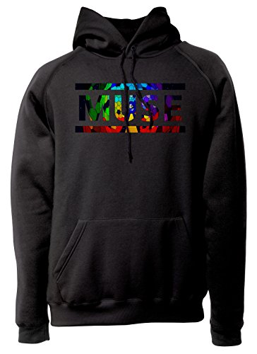 LaMAGLIERIA Unisex-Hoodie Muse Coloured Texture - Kapuzenpullover Rock Band, XL, Schwarz
