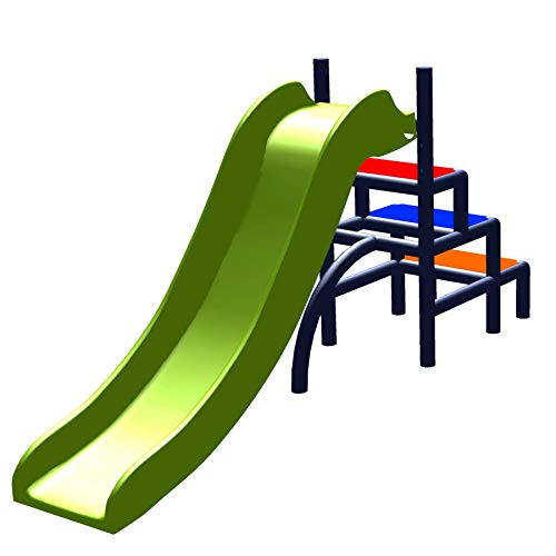 move and stic TOFFI Kinderrutsche Kinder My First Mini Slide Meine Erste Mini Rutsche Spielzeug Babyrutsche Gartenrutsche Moveandstic (S, titangrau / apfelgrün)