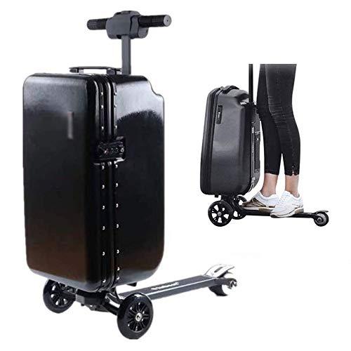 Zdcdy Patinete de bagagem inteligente para motorista, mala inteligente e portátil, haste elástica escondida, para negócios em aeroportos, preta