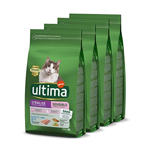 Ultima Croquettes Stérilisés Sensible à Truite pour Chat: Pack 4 x 1,5kg - Total 6 kg