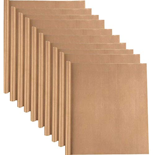 10 Pack PTFE Teflon Sheet for Heat Press Transfer Sheet 16' x 12' Non Stick Heat Transfer Paper Washable Reusable Heat Resistant Craft Mat (Brown)