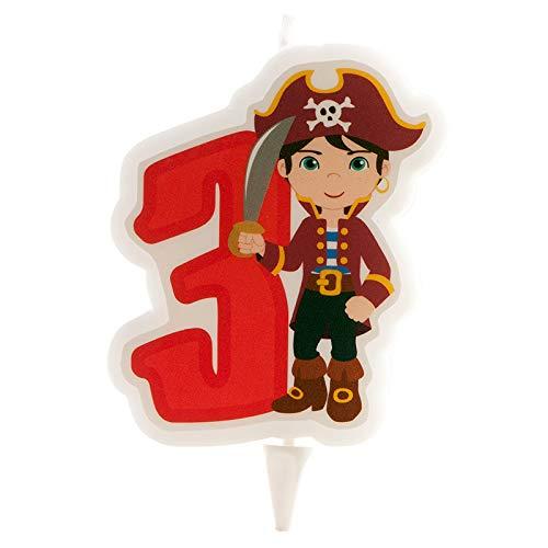 Generique - Bougie d'anniversaire Pirate Chiffre 3