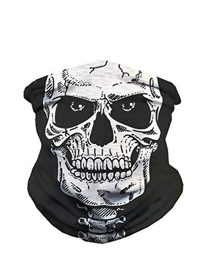 iHeartRaves Skeleton Face Multi-Functional Seamless Face Mask Bandana (Black)