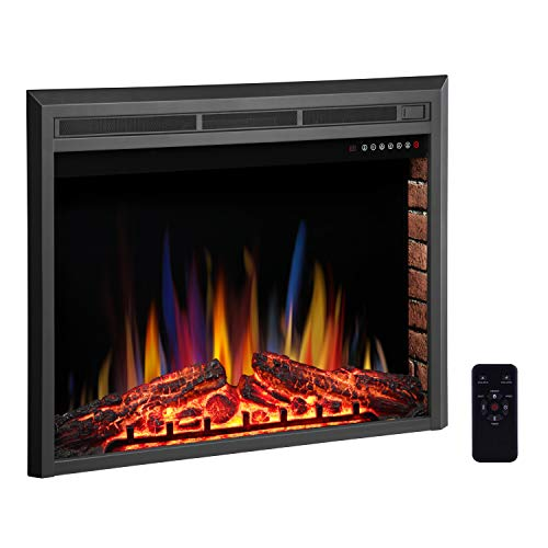 R.W.FLAME 32' Electric Fireplace Insert,Freestanding & Recessed Electric Stove Heater,Touch Screen,Remote Control,750W-1500W with Timer & Colorful Flame Option