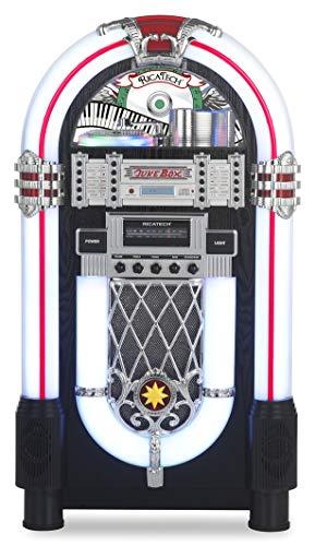 Ricatech RRR1000 - Jukebox de 7 Colores LED con Reproductor de CD, Bluetooth, Radio Am/FM y Entrada de línea