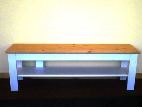 Bank Bettbank Beistellbank Sitzbank Schuhbank Landhausstil Kiefer massiv, Farbe:Weiß