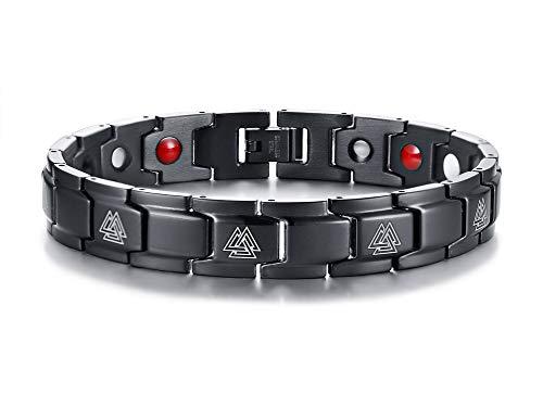 VNOX Schwarz Beschichtet Edelstahl Viking Valknut Symbol Nordisch Rune Hrungnir Knoten Magnetisch Gesundheit Therapie Armband für Männer, 21cm