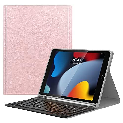 MoKo Funda Compatible con Nuevo iPad 9ª Generación 2021/iPad 8ª Generación 2020/iPad 7ª Gen 2019 Teclado, Cubierta con Soporte para Apple Pencil, Protector de Teclado Inalámbrico - Oro Rosa