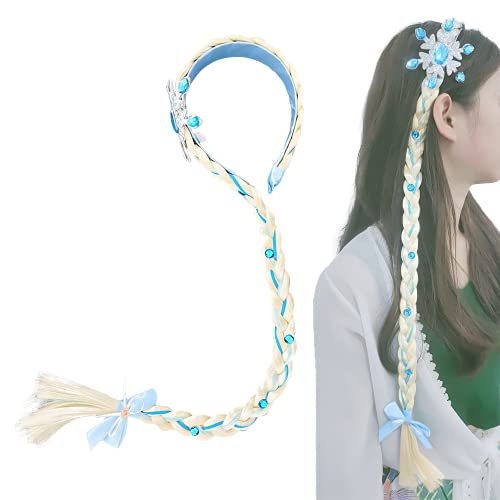 Headdress Hairband for Party Halloween Costume,Cosplay Braided Wigs for Girls Princess Dress Up Accessories-Blue hair extensions
