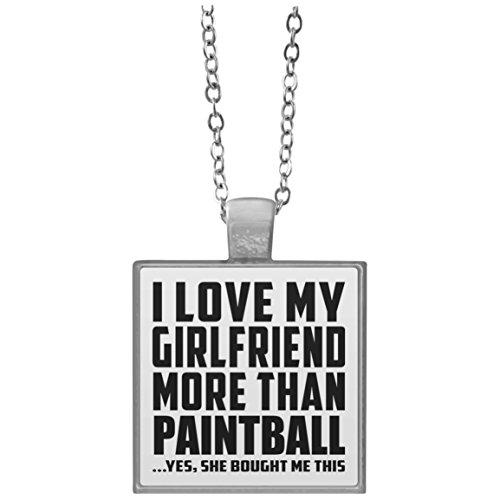 I Love My Girlfriend More Than Paintball - Square Necklace Halskette Quadrat Versilberter Anhänger - Geschenk zum Geburtstag Jahrestag Weihnachtsgeschenk