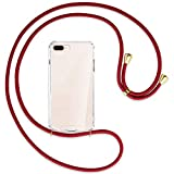 mtb more energy® Collar Smartphone para Apple iPhone 7 Plus, 8 Plus, 7+, 8+ (5.5'') - Rojo Oscuro/Oro - Funda Protectora ponible - Carcasa Anti Shock con Cuerda