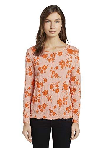 TOM TAILOR Damen Blumenbluse Bluse, Orange Coral Floral Design, S
