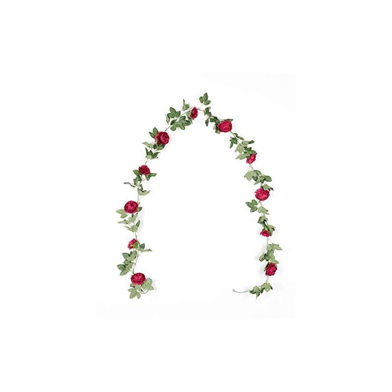 silk flower arrangements duovlo 8.2ft artificial peony flower garland hanging greenery vine silk floral vine home wedding arch wall craft arrangement decorations,pack of 2 (red)