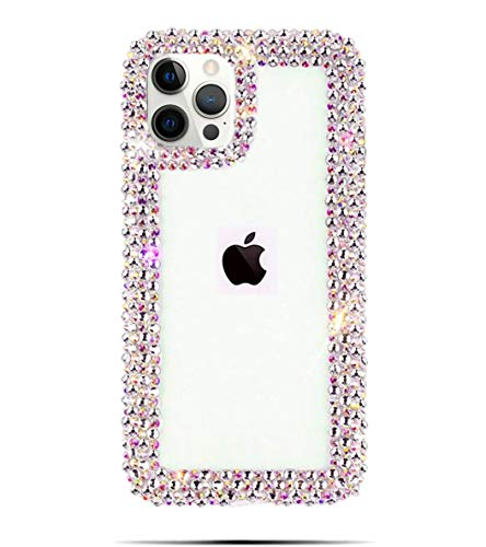 Bonitec Jesiya for iPhone 12 Pro Max Case 3D Glitter Sparkle Bling Case Luxury Shiny Crystal Rhinestone Diamond Bumper Clear Protective Case Cover Clear