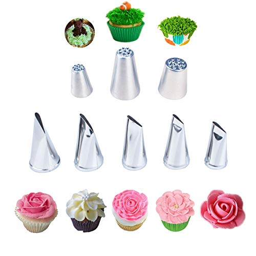 5 Pieces Large Piping Tips Set and 3Pcs Russian Grass Cream Tips DIY Decor Baking Tool, Stainless Steel Piping Nozzles Kit for Pastry Cupcakes Cakes Cookies Decorating