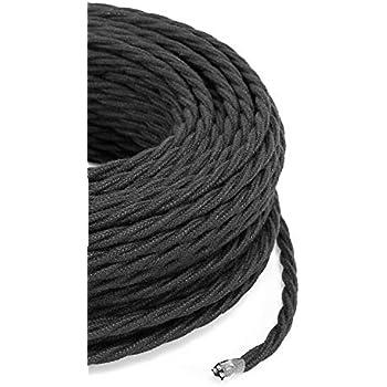 C/âble /électrique tress/é//tress/é avec rev/êtement en tissu Noir Coton Section 2/x 0.75