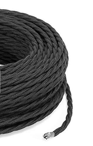 Cable eléctrico trenzado/trenzado revestido de tela. Color negro algodón. Sección 2 x...