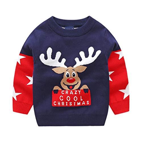 Niños Navidad Jersey Invierno Manga Larga Pull-over Prendas de Punto Sudaderas Ropa 3-4 Años