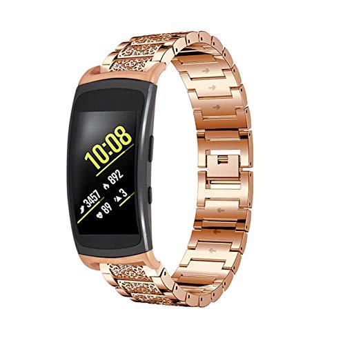 Gear Fit 2 Pulsera, MVRYCE Pulsera de Diamantes de Imitación de Acero Inoxidable Elegante Accesorios de Repuesto Correa Compatible para Samsung Gear Fit 2 R360/Gear Fit 2 Pro R365 (Oro Oscuro)