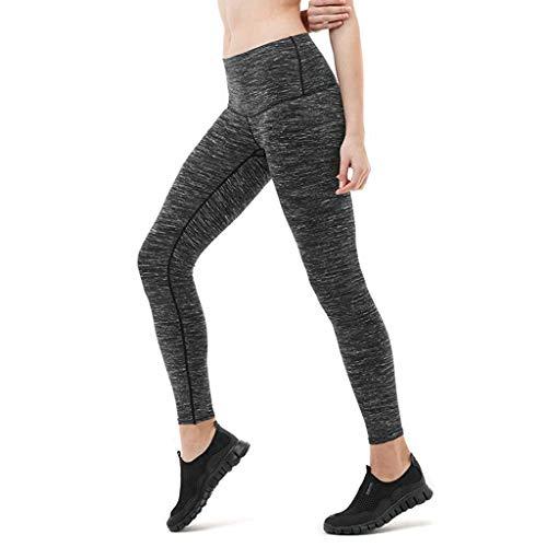 MOTOCO Frauen Strumpfhosen Sport Yoga Fitness Hosen Sport neun Hosen Größe 8-16(XL(40),Grau)