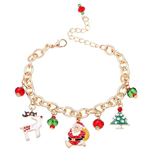Sperrins Women Girls Charms Bracelet for Christmas Thanksgiving Bracelet Charm Chains Plated Gold Christmas Santa Claus