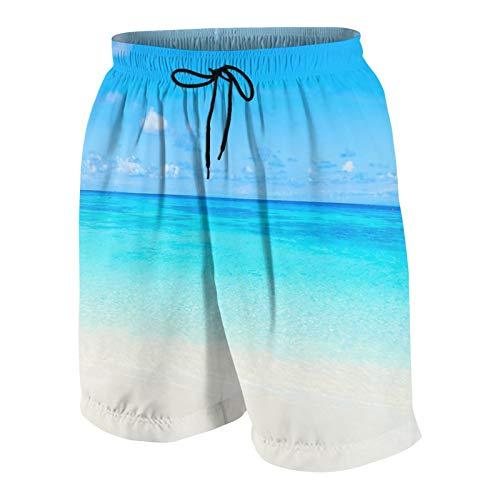 SUHOM De Los Hombres Casual Pantalones Cortos,Hermosa Playa Tropical y mar con Cielo Azul,Secado Rápido Traje de Baño Playa Ropa de Deporte con Forro de Malla