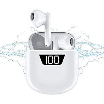 Wireless Headphones Bluetooth 5.0 Wireless Ear Buds Built in Mic in Ear Buds Noise Cancelling Earphones with Charging Case Touch Control Sport Headsets for iPhone/Android/Samsung  White1