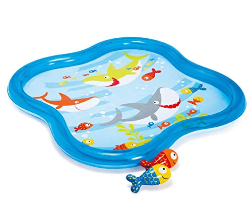 Intex Inflatable Square Fish Aquarium Baby Kiddie Spray Pool (55 in x 55 in x 4.5 in)