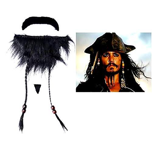 Lovelegis Barba Falsa Pirata del Caribe - Jack Sparrow - Pegatinas - Accesorios - Disfraz - Halloween - Carnaval - Fiestas - Hombre - niños - Idea de Regalo para Navidad y cumpleaños