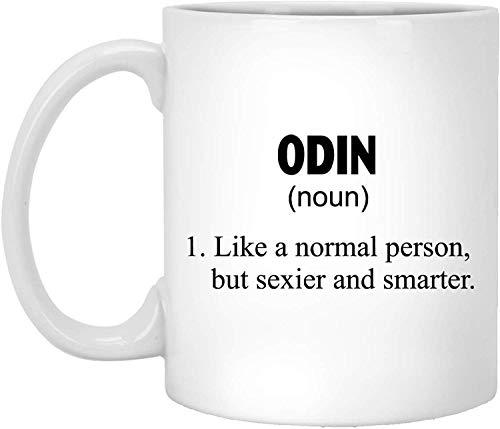 Taza de té, color blanco, divertida idea de definición de Odin taza de café personalizada, 325 ml, taza de café blanca