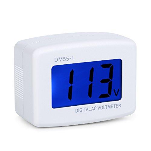 Eversame Flat US Plug AC 80-300V LCD Digital Voltmeter Voltage Measuring Monitor, AC 110V 220V Voltage Panel Power Line Volt Test Monitor Gauge Meter for Household Plug into Outlet to Measure Voltage