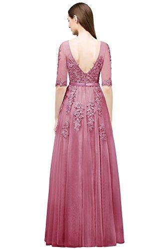 MisShow Frauen Lace Spitze Tüll Lange Brautjungfer Kleid Party Kleid Cocktailkleid Altrosa Gr.44