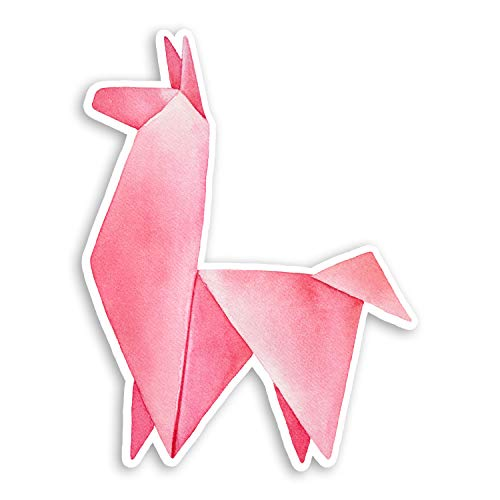 2 pegatinas de vinilo de origami de 10 cm, diseño de llamas rosas 10cm Tall
