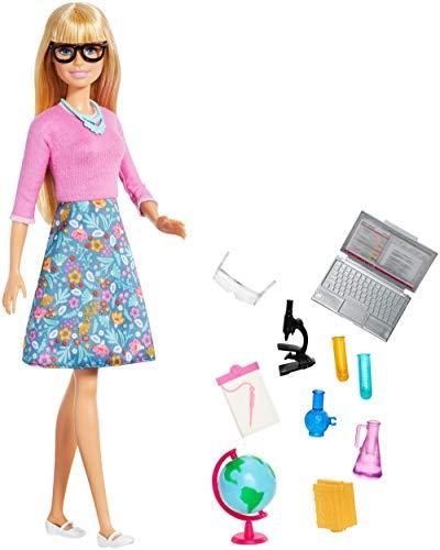 Barbie GJC23 - Lehrerin-Puppe (blond) mit zehn Zubehörteilen für den Unterricht, mit eim drehbaren Globus und aufklappbarerm Laptop, Spielset ab 3 Jahren