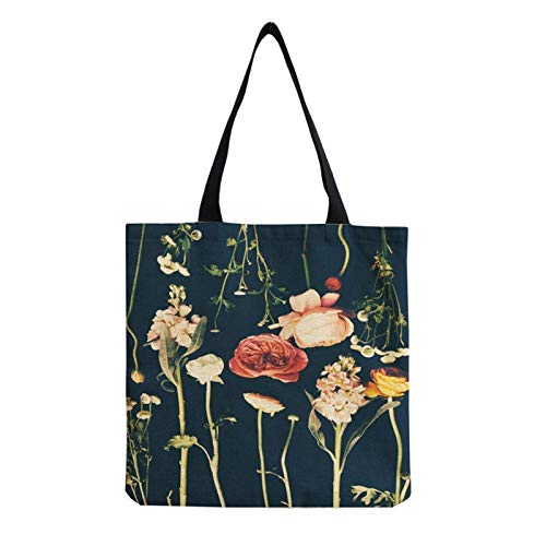 Tote bag Art Printed Floral Casual Bags Novelties Personality New Trend Shoulder Bag Large Capacity Open Pocket Custom Pattern Handbags Handbags (Color : Hm0223)