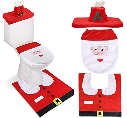 3 Pieces Christmas Toilet Seat Cover, 3D Nose Snowman Santa Claus Toilet Seat Cover and Rug Set for Christmas Bathroom Toilet Ornament Decorations(Red)