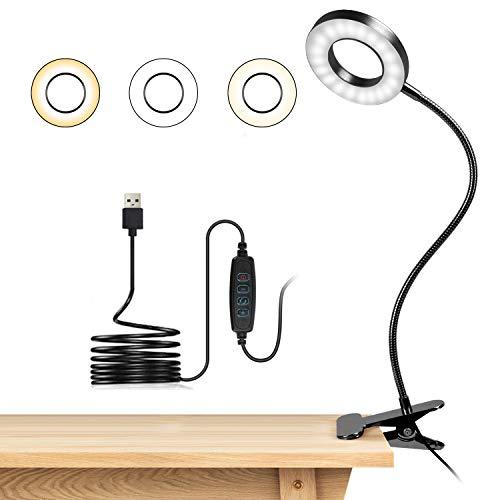 Lampara Lectura con Flexo Pinza 8W LED Luz Lectura escritorio Cuidado Ocular, 3 Modos de Luz y 10 Brillo Ajustable, 360° Flexible USB Regulable Lámpara para Libro, Tablet, Camping (Negro)