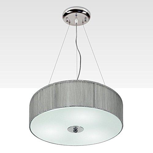 s.LUCE Textil-Hängeleuchte Twine M Ø 40cm Silber Hängelampe Stofflampe Stoffleuchte Wohnzimmerlampe Kinderzimmerlampe Lampe Leuchte