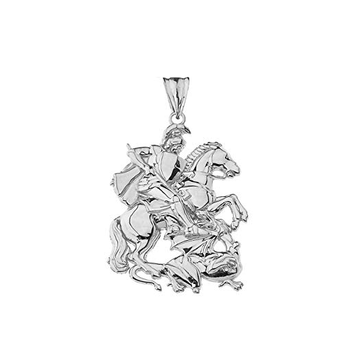 Fine Sterling Silver St. George The Dragon Slayer Pendant