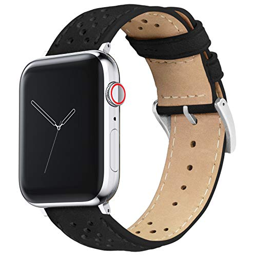 38mm/40mm Black - BARTON Racing Horween Leather Watch Bands with Integrated quick release spring bars- Compatible with all Apple Watch Models