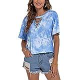XYJD Pullover Casual da Donna Primavera Ed Estate con Scollo A V Tie-Dye Stampa Mimetica A Maniche Corte T-Shirt Allentata Top Donna